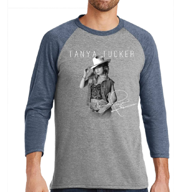 Tanya Tucker Grey and Navy Frost Raglan Tee